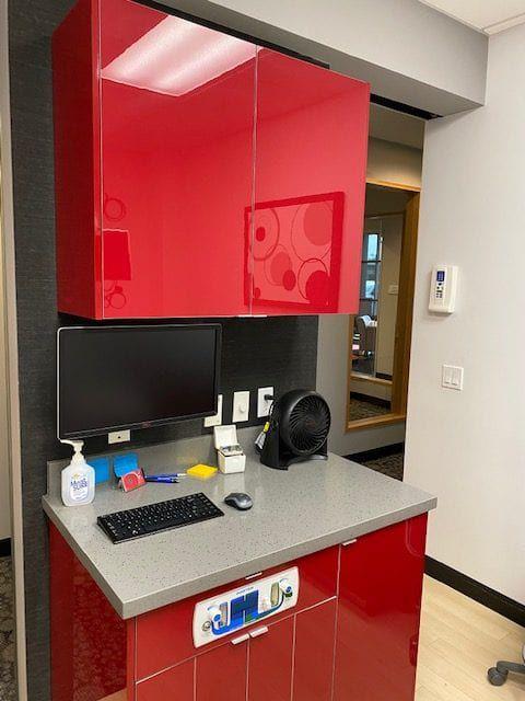 dental desk with red color scheme